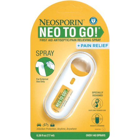 Neosporin + Pain Relief Neo To Go! First Aid Antiseptic/Pain Relieving Spray,.26