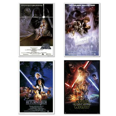 - Star Wars: Episode IV, V, VI & VII - 4 Piece Movie Poster / Print Set (Regular Styles) (Size: 24