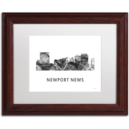 Trademark Fine Art 'Newport News VA Skyline WB-BW' Canvas Art by Marlene Watson, White Matte, Wood Frame ()
