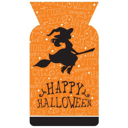Creative Converting Halloween Cello Bag, Shaped, Halloween Witch, 20 ct (20 Off Halloween City)