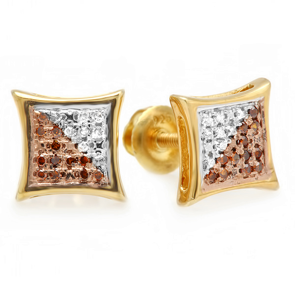 0.10 Carat (ctw) White & Red Round Diamond Micro Pave Setting Kite Shape Stud Earrings 1/10 CT