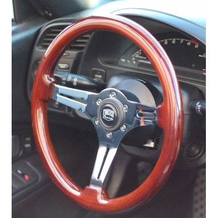 (350mm) Polished Wood Steering Wheel, Miata, Porsche, BMW, JDM, Mazda, Toyota