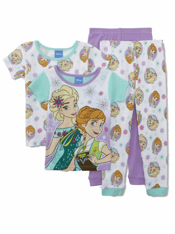 Disney Frozen Toddler Girls 4 Piece Pajamas Elsa & Anna Sleep Set 4T
