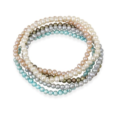 4-4.5mm White, Peach, Gray, Bronze, Teal Freshwater Cultured Pearls Stretch Bracelets, Set of 5