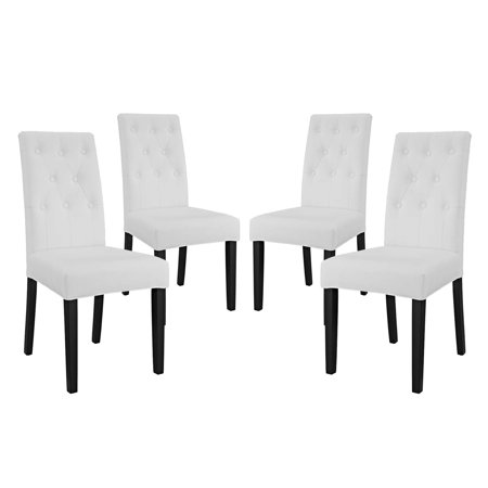 Miraculous Modern Contemporary Urban Design Dining Kitchen Room Side Chair Set Of Four Faux Vinyl Leather White Unemploymentrelief Wooden Chair Designs For Living Room Unemploymentrelieforg