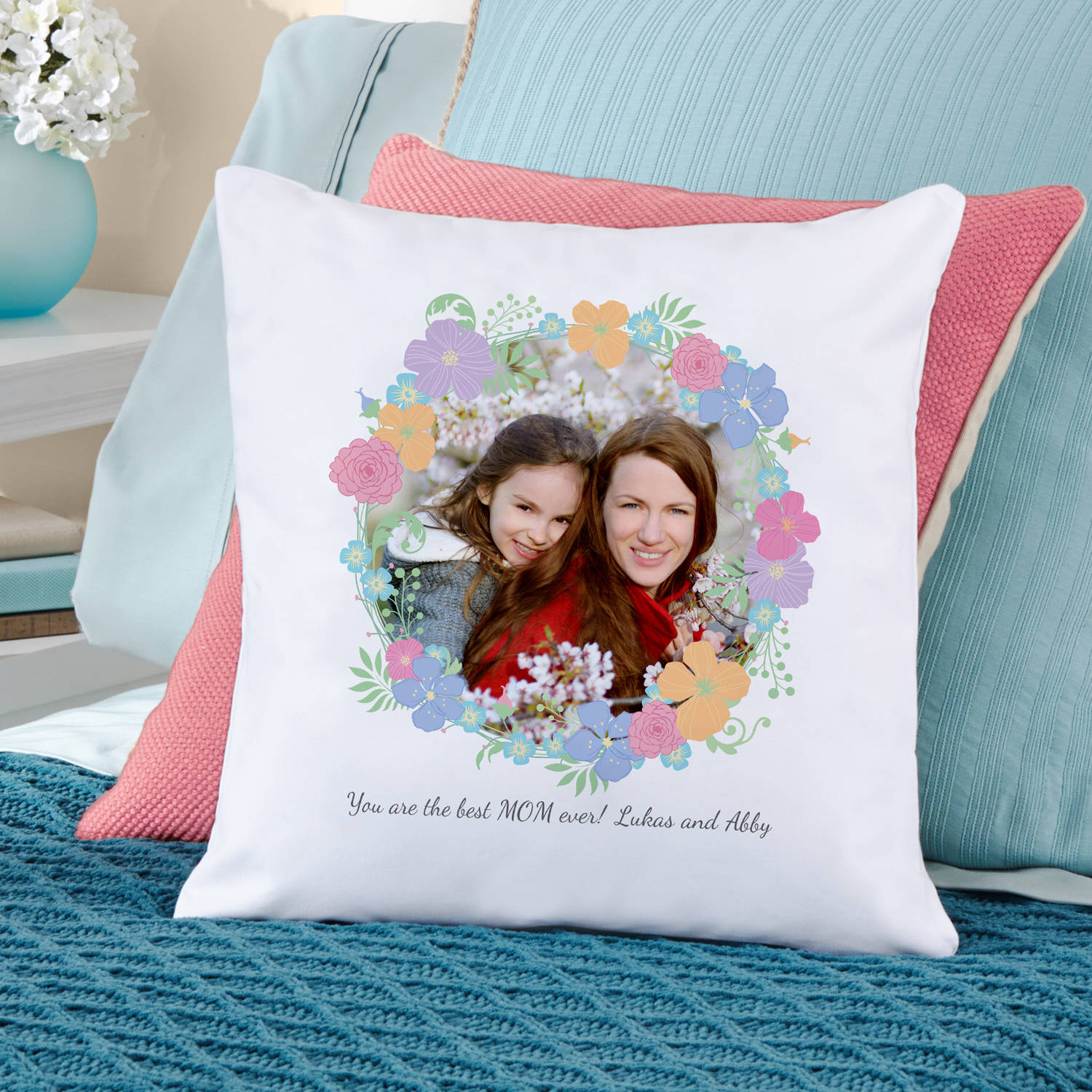 Personalized Floral Photo Throw Pillow