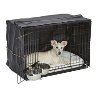 """MidWest Dog Crate Starter Kit 30"""" Double Door iCrate, Pet Bed, Crate Cover & 2 Pet Bowls"""
