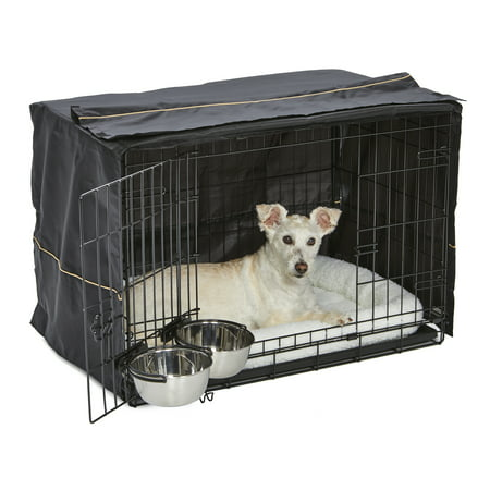 Midwest Homes for Pets Dog Crate Starter Kit | One 2-Door iCrate, Pet Bed, Crate Cover & 2 Pet Bowls | 30-Inch Ideal for Medium Dog