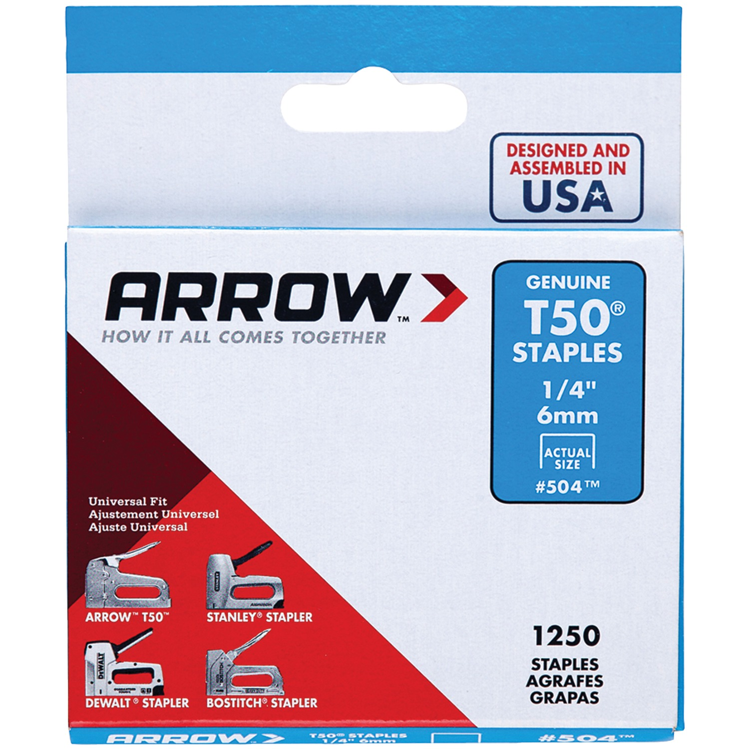 Arrow 504 1 4-Inch T50 Staples, 1250 Count by Arrow