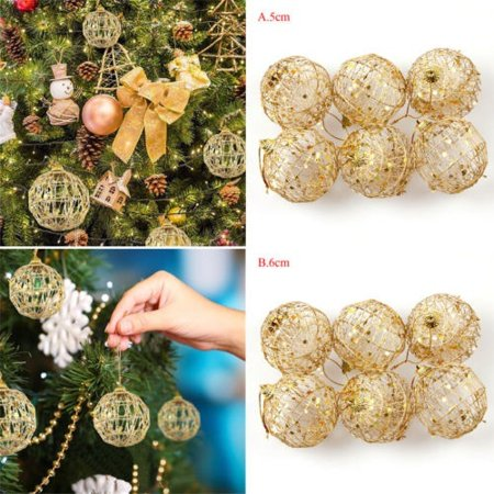 6 pcs Glitter Scale Christmas Baubles Xmas Tree Ornament Ball Christmas Decor - image 3 of 5