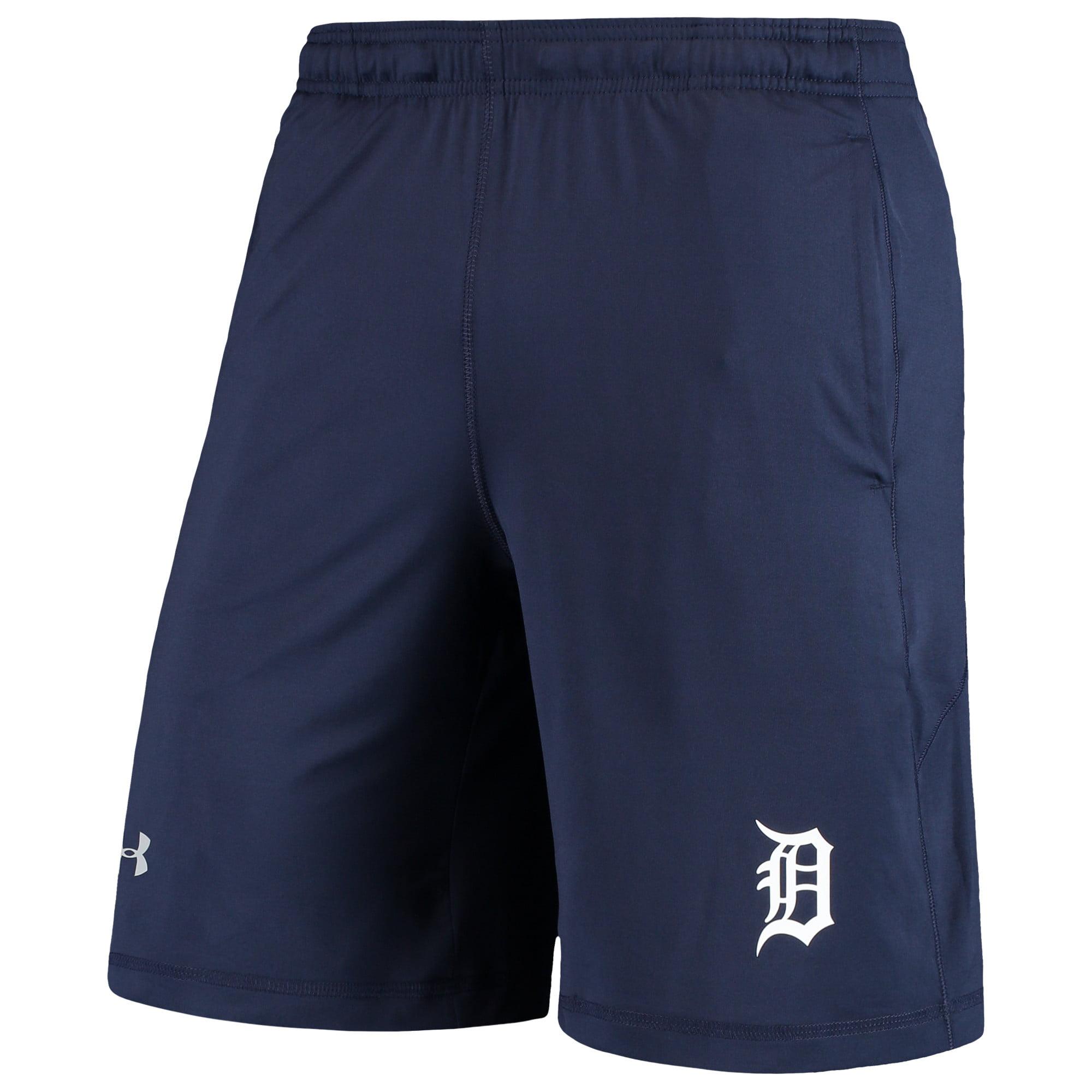 Detroit Tigers Under Armour Raid Left Leg Performance Shorts - Navy