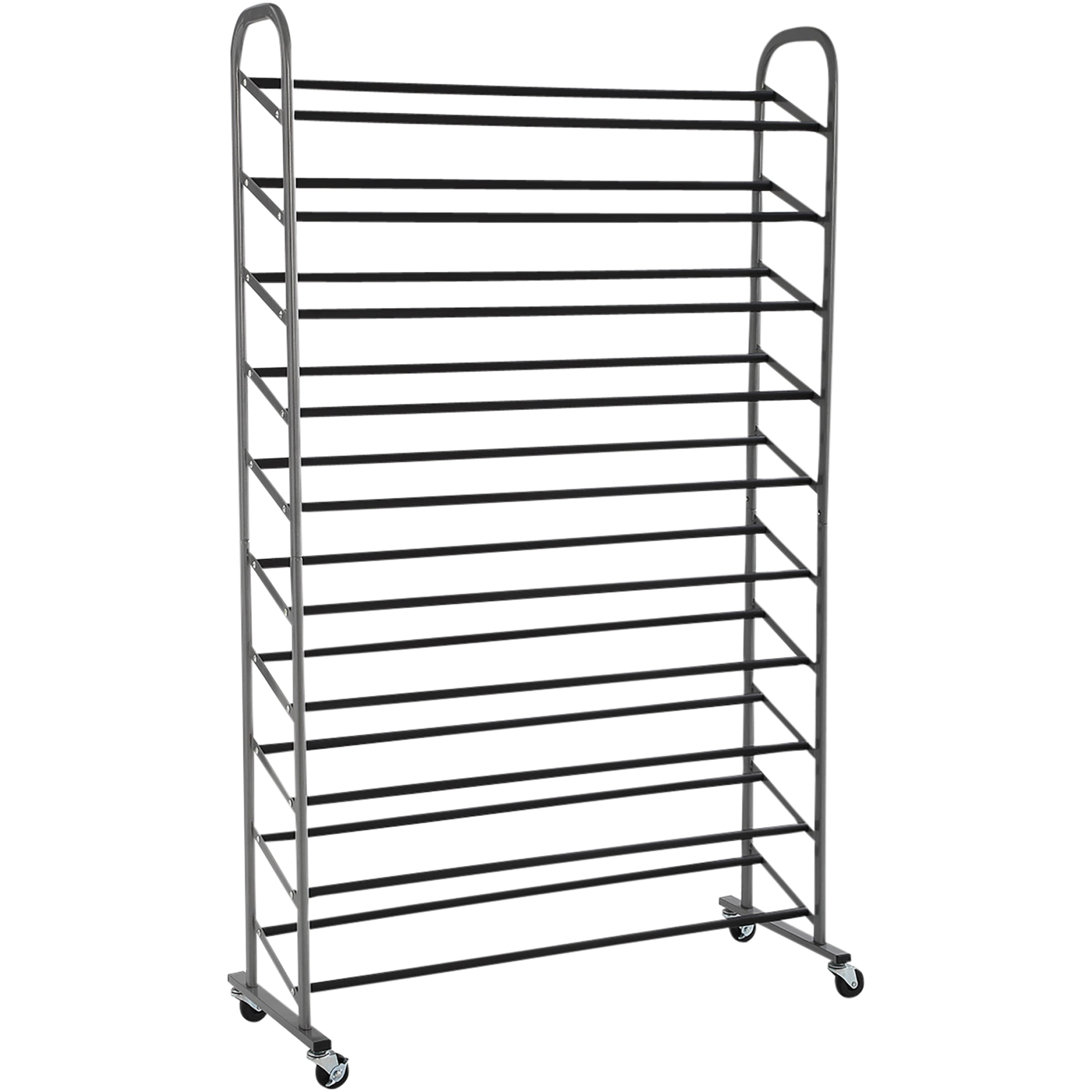 Mainstays 10 Tier Rolling Shoe Rack Versatile Design For All Shoe Types Walmart Com Walmart Com