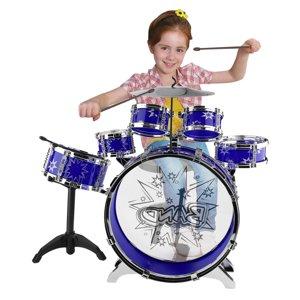Blue Kids Junior Drum Kit Tom Drums Cymbal Stool Drumsticks Set Musical Instrument