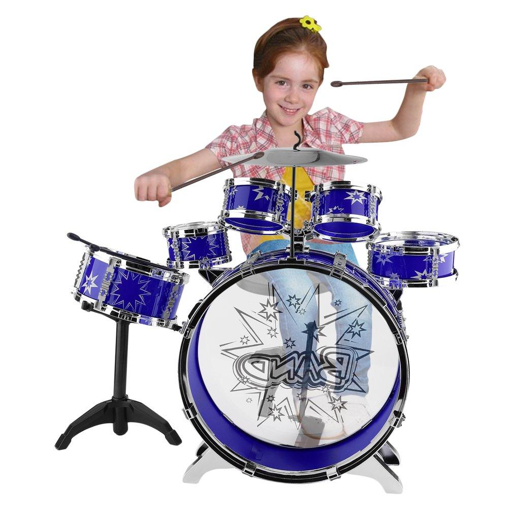 Blue Kids Junior Drum Kit Children Tom Drums Cymbal Stool...