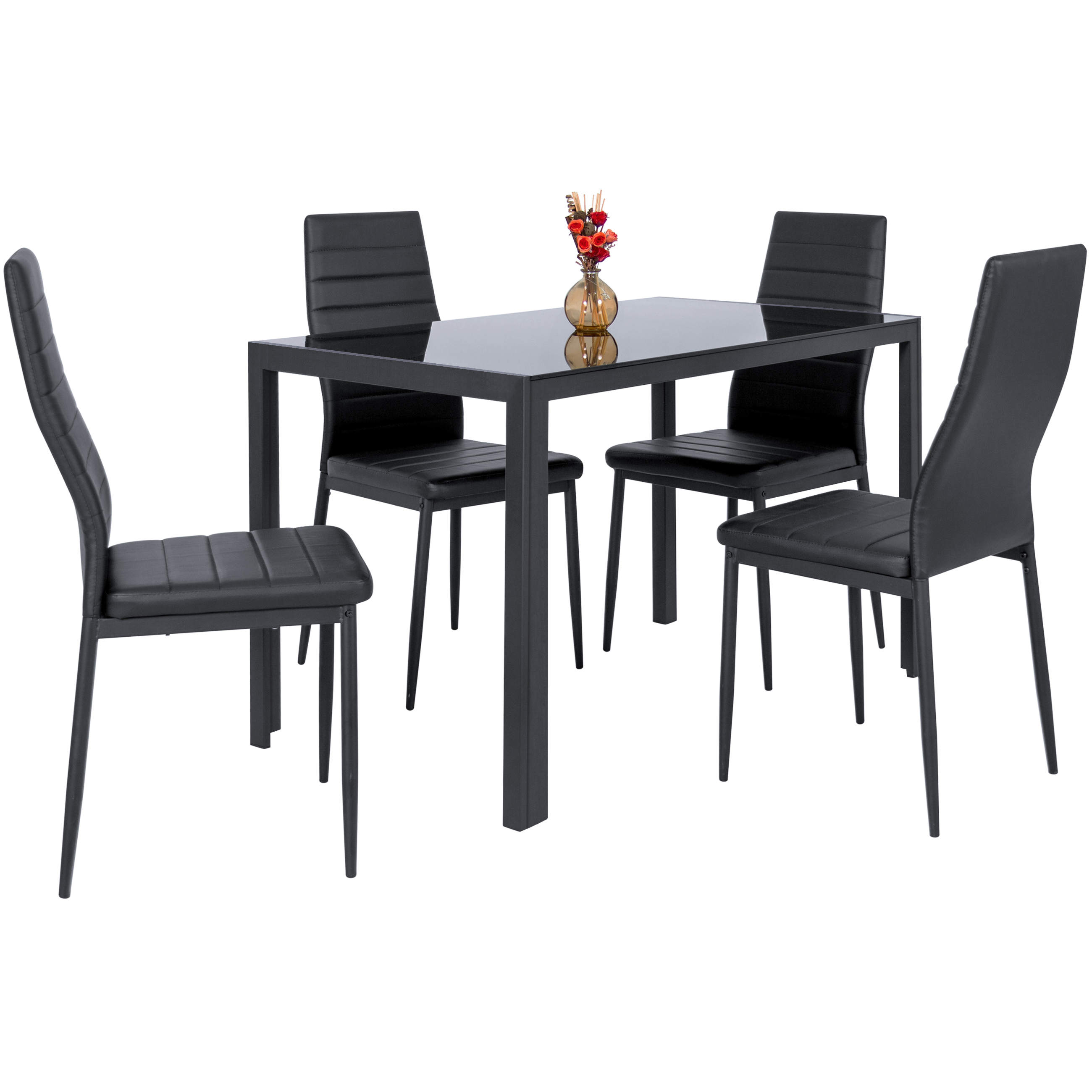 Zimtown Modern Dining Table Set 4 Chair Glass Metal Kitchen Room Breakfast Furniture