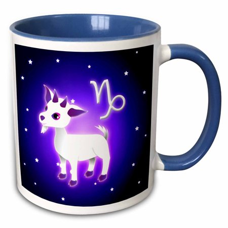 3dRose Cute Astrology Capricorn Zodiac Sign Goat - Two Tone Blue Mug, 11-ounce Capricorn Zodiac Mug