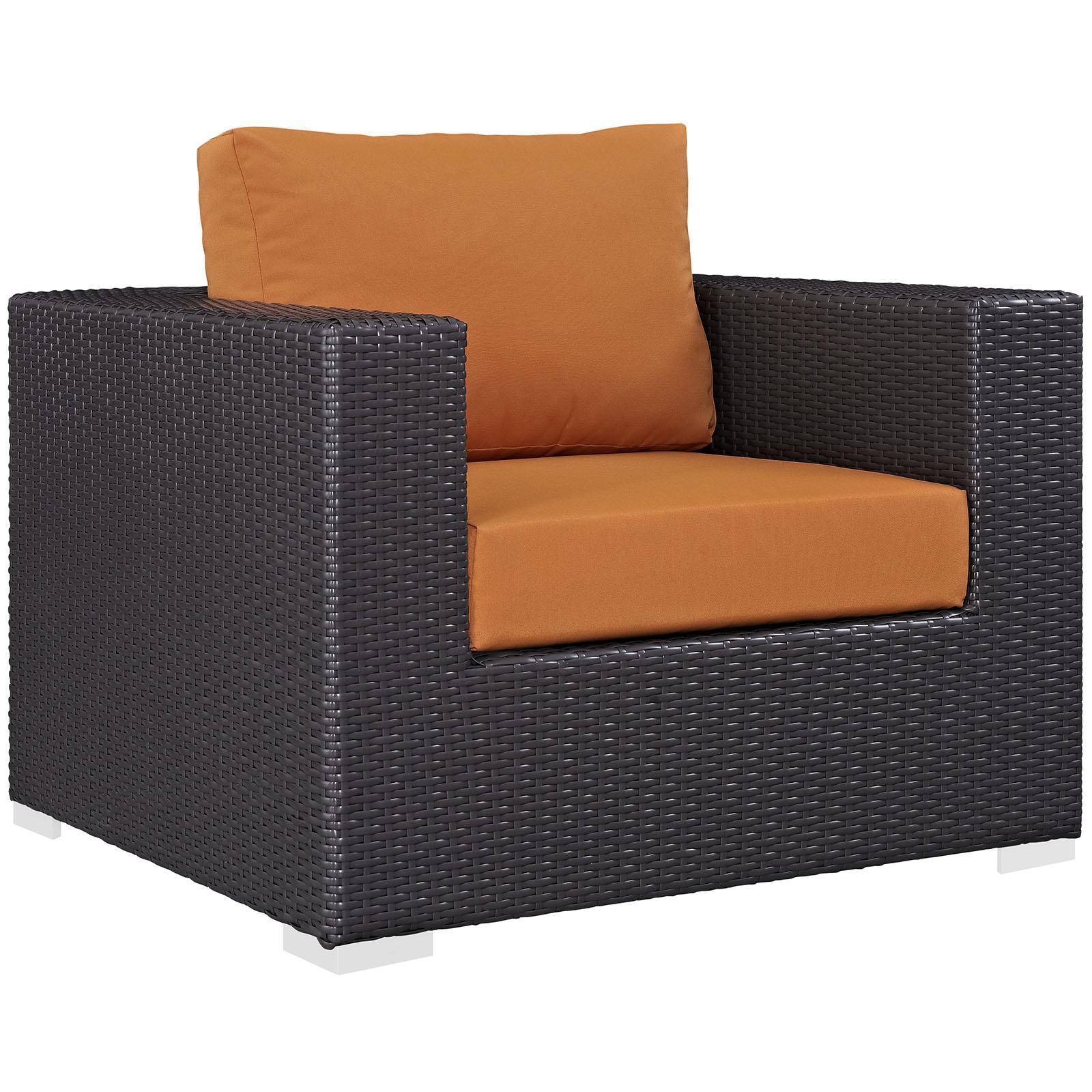 Modern Contemporary Urban Design Outdoor Patio Balcony Lounge Chair, Orange, Rattan