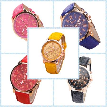 Environmental Friendly Fashion Brand Men Male Casual Stylish Romen Numerals Faux Leather Quartz Watch Montre Watches Black - image 3 of 6