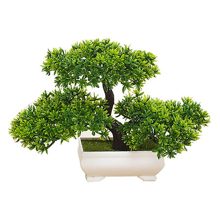 Outgeek Green Artificial Plants Trees Creative Bonsai Fake Plants in Pots Plastic Planter Home Office Desk Decorations for Indoor Outdoor (Japanese White Pine Bonsai Tree For Sale)