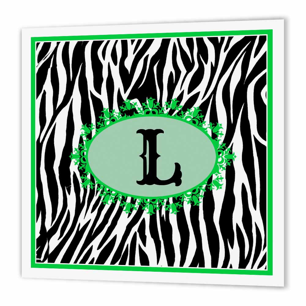 3dRose Monogram with L initial Zebra print green and black, Iron On Heat Transfer, 6 by 6-inch, For White Material ht_214139_2