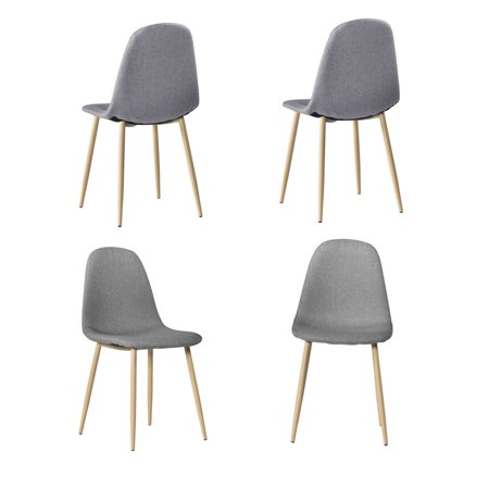 Zimtown 4 PCS Gray Mid Century Modern Style Dining Chair Wooden Legs Fabric & Padded