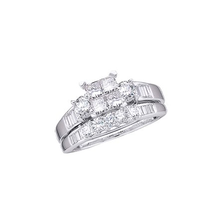 10kt White Gold Womens Princess Diamond Bridal Wedding Engagement Ring Band Set 1.00 Cttw - image 1 de 1