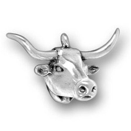 "Sterling Silver 7"" 4.5mm Charm Bracelet With Attached 3D Texas Longhorn Cattle Cow Head Charm"