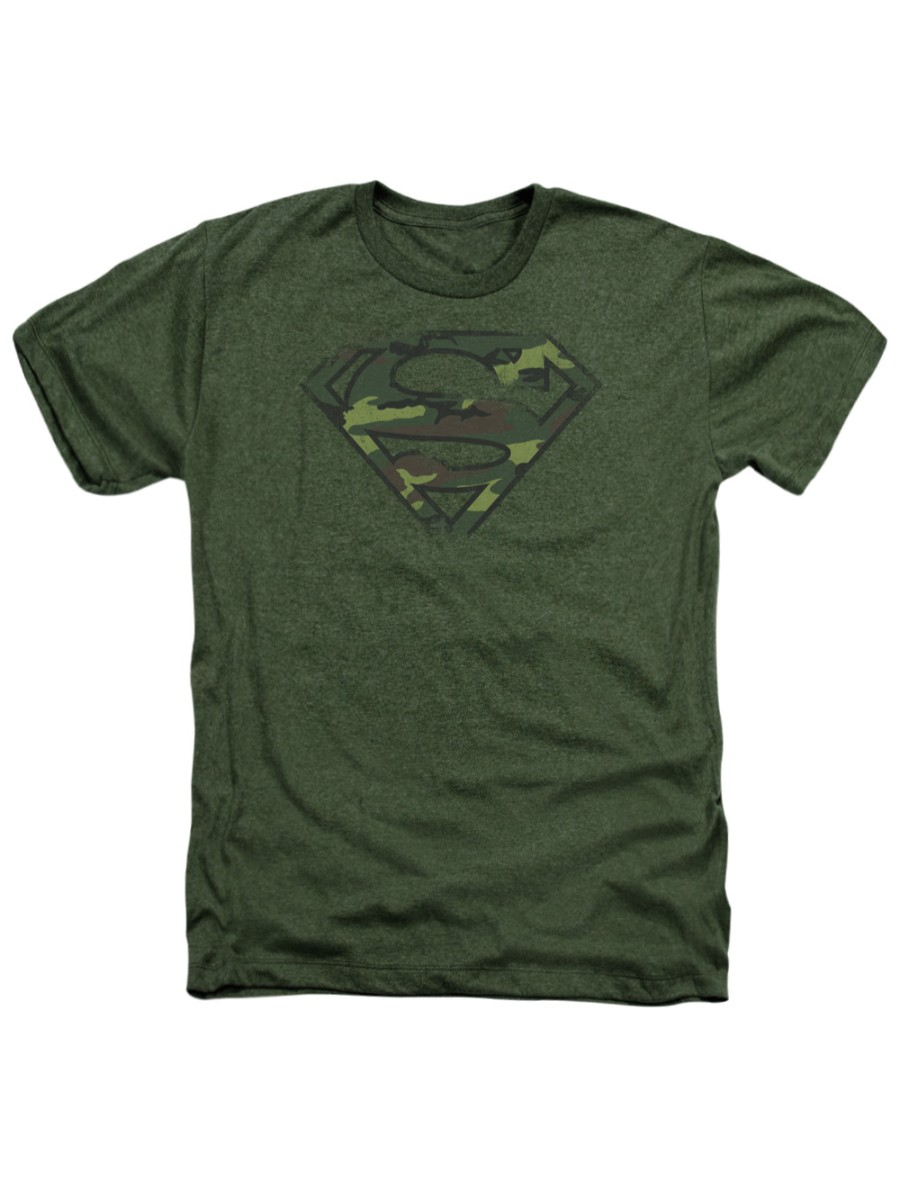 Superman DC Comics Classic S Shield Logo Camouflage Adult Heather T-Shirt