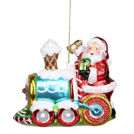 Northlight Seasonal Glass Santa Claus on Holiday Train Decorative Christmas Ornament ()