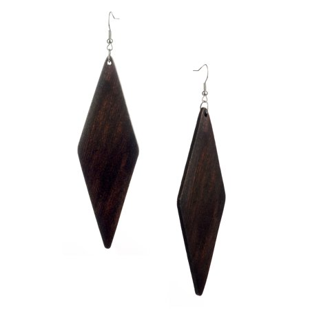 Stone Dangle Pierced Earrings (Women's Wooden Elongated Diamond Shape Dangle Pierced Earrings, Brown )