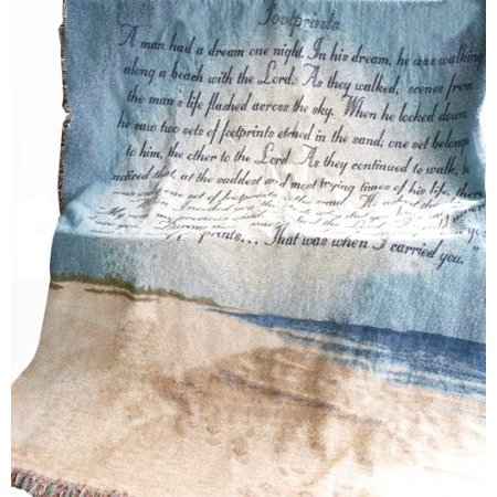 Manual Inspirational Collection 50 x 60-Inch Tapestry Throw with Poem, Footprints in The Sand - image 1 of 1