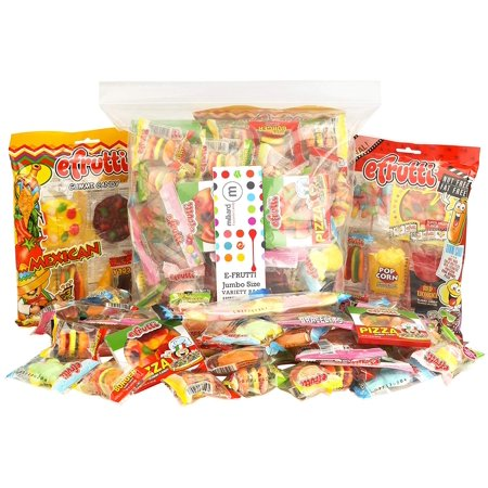 Burger Gummies - eFrutti Gummi Candy Jumbo Size Variety Party Pack: Pizzas, Mini Burgers, Sour Mini Burgers, Hot dogs, Cup Cake, Sea Creature, And Much More