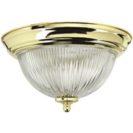 Monument Halophane Dome Ceiling Fixture, Polished Brass, 15-3/8 In., Uses 3 60-Watt Incandescent Medium Base (Brass Fixture Loop)