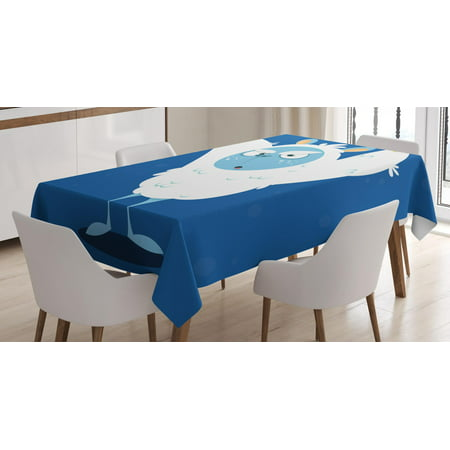 Bigfoot Tablecloth, Wild Scary Yeti Costume for Halloween with Fluffy Fur Fantastic Cartoon Monster, Rectangular Table Cover for Dining Room Kitchen, 60 X 84 Inches, Multicolor, by - Name A Scary Halloween Monster