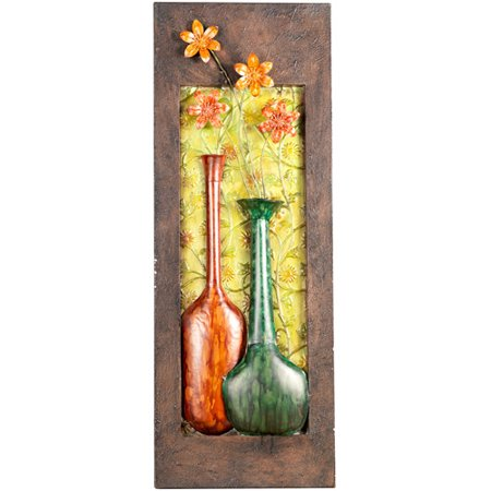 Elements Metal Double Vase Wall Decor