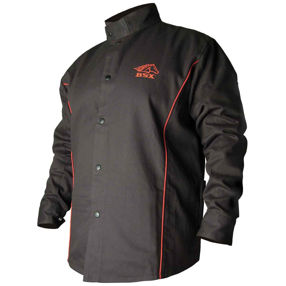 Black Stallion BSX B9C 9oz. Black/Red Cotton Welding Jacket, Flame Resistant 2XL