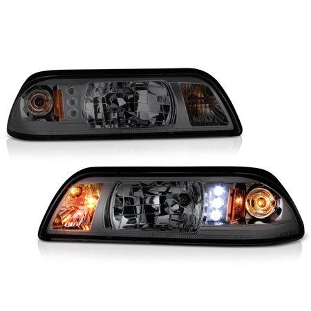 Lense Corner Signal Light (VIPMOTOZ LED Strip Smoke Lens Headlight & Turn Signal Corner Lamp Assembly For 1987-1993 Ford Mustang)