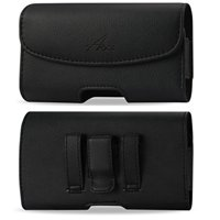 For Samsung Galaxy S20 5G, Galaxy S10 Plus, Galaxy A20, Galaxy S9 Plus, Galaxy S8 Plus, A50, Premium Leather AGOZ Pouch Case Horizontal Holster with Belt Clip & Two Belt Loops (FOR BARE PHONE)