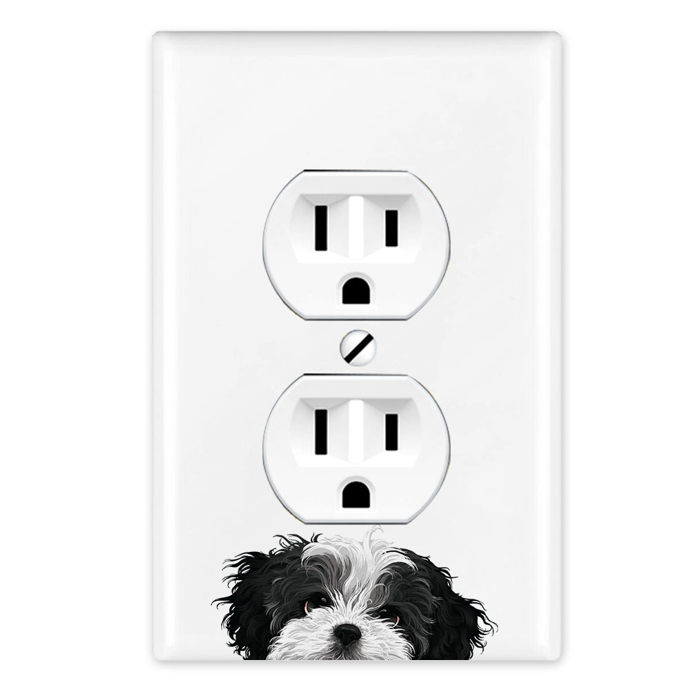 Wirester 1 Gang Duplex Outlet Cover Wall Plate Switch Plate Cover Animal Black White Shih Tzu Dog Walmart Com Walmart Com