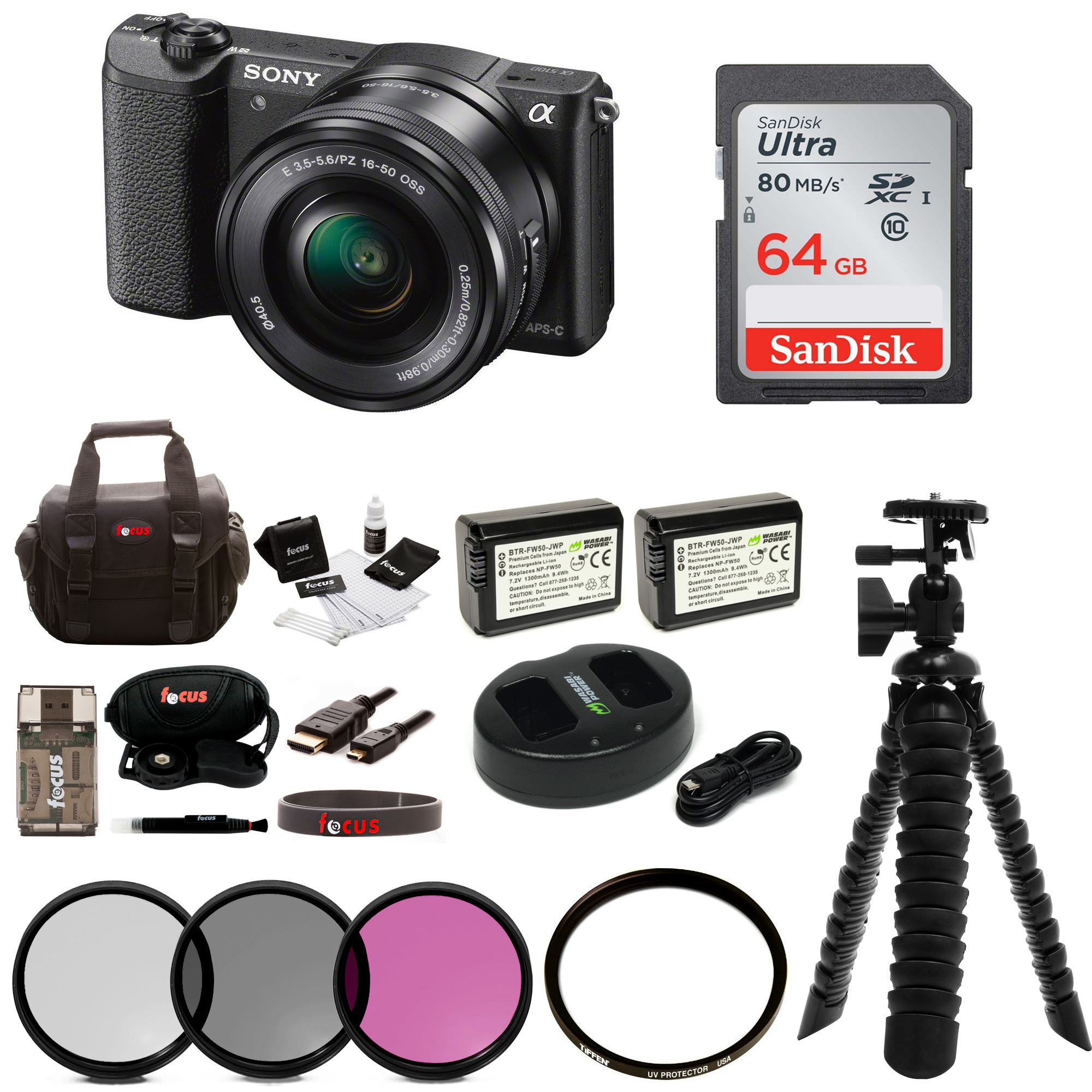 Sony a5100 24MP Interchangeable Lens Camera with 16-50mm Lens (Black) + SanDisk 64GB Card + Tripod + Accessory Bundle