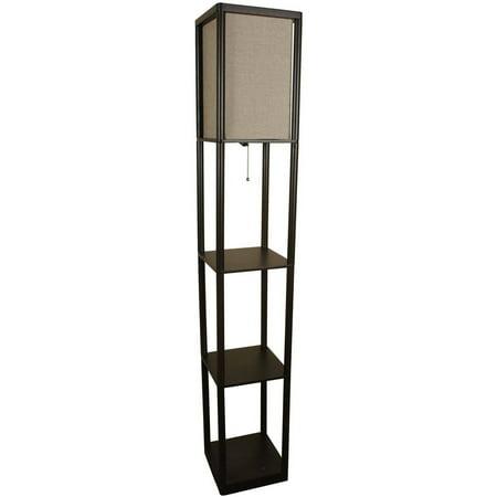 Mainstays brown shelf floor lamp with tan textured shade for Mainstays floor lamp with reading light brown