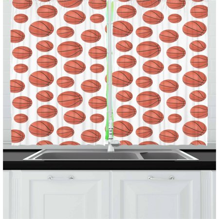 Basketball Curtains 2 Panels Set, Realistic Style Balls Pattern on White Classical Sports Themed, Window Drapes for Living Room Bedroom, 55W X 39L Inches, Pale Cinnamon Black White, by Ambesonne