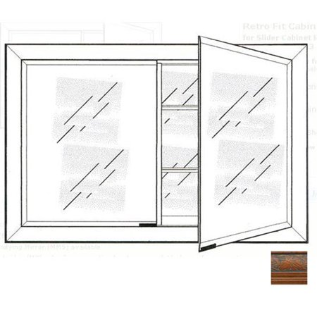 Afina Corporation DD3323RPALMA 33 in.x 23 in.Recessed Double Door Cabinet - Parliament Mahogany