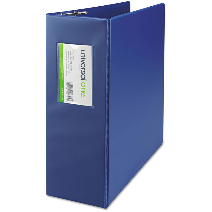 "Universal One D-Ring Binder, 4"" Capacity, 8-1/2"" x 11"", Royal Blue"