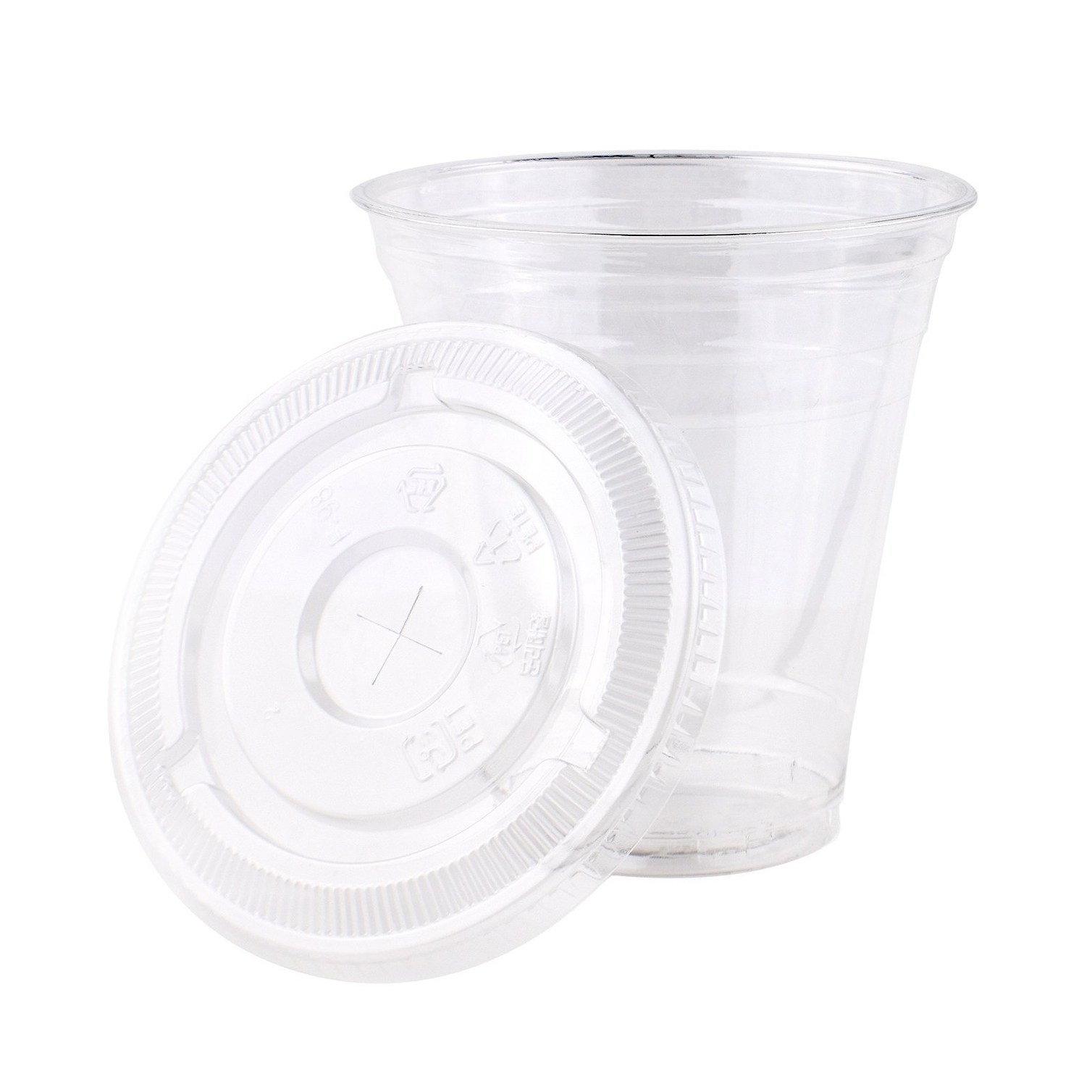 OTOR 16oz Clear Disposable Plastic Cups with Dome and Flat Lids 50 Count