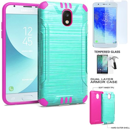 Phone Case for Verizon Prepaid Samsung Galaxy J3 Mission-2, J3 Orbit Case Brush Dual Layered Cover with Tempered Glass Screen (Combat Teal-Pink TPU/ Tempered (Verizon Cell Phone Cases)