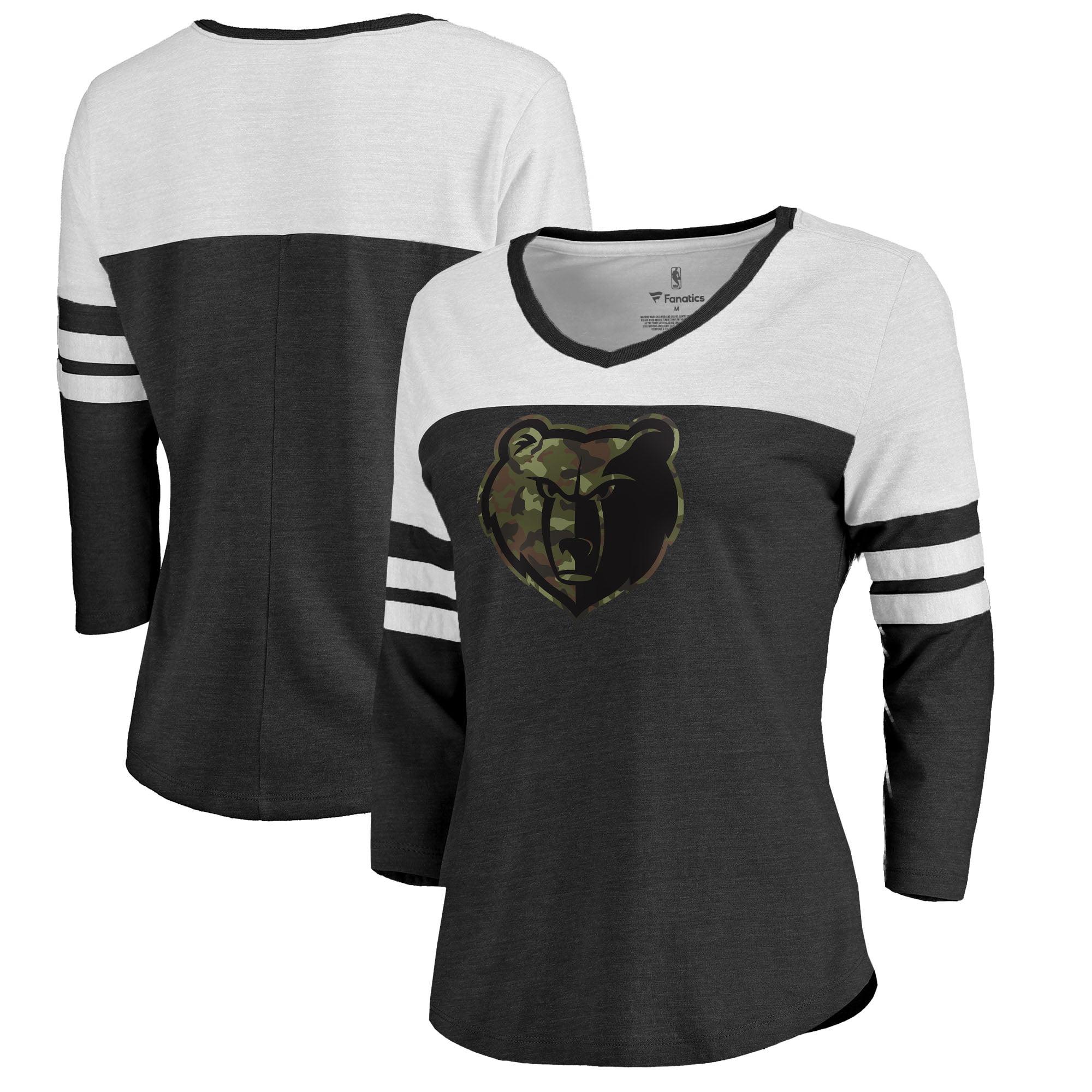 Memphis Grizzlies Fanatics Branded Women's Prestige Camo 3/4-Sleeve Raglan V-Neck T-Shirt - Black
