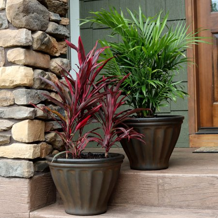 Sunnydaze Charlotte Flower Pot Planter, Outdoor/Indoor Extra-Durable Double-Walled Polyresin with UV-Resistant Rust Finish, Set of 2, 16-Inch (Indoor Flower Pots)