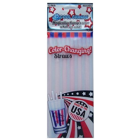 Color Changing Straws - Fun Military Gift or Patriotic Party, Color Change Reusable Drinking Straws - July 4th Celebrate Red White Blue! By Cool Change for $<!---->