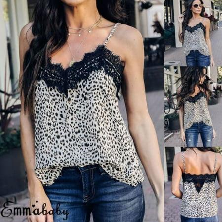 Women Sexy V Neck Leopard Print Camisole Tank Vest Blouse Lace Cami Crop Tops ()